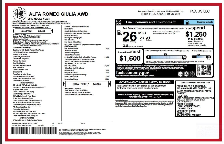 New 2018 Alfa Romeo Giulia  For Sale 45585 In Greenwich, CT