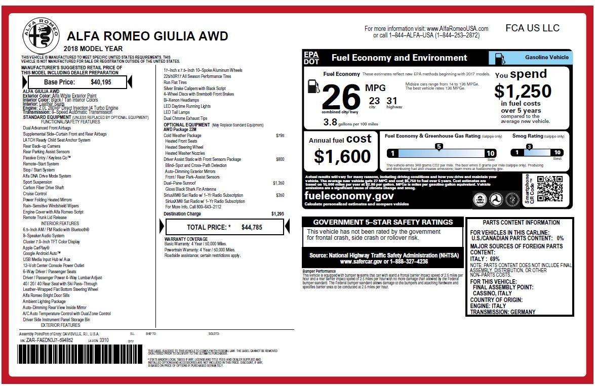 New 2018 Alfa Romeo Giulia Q4 For Sale 44785 In Greenwich, CT