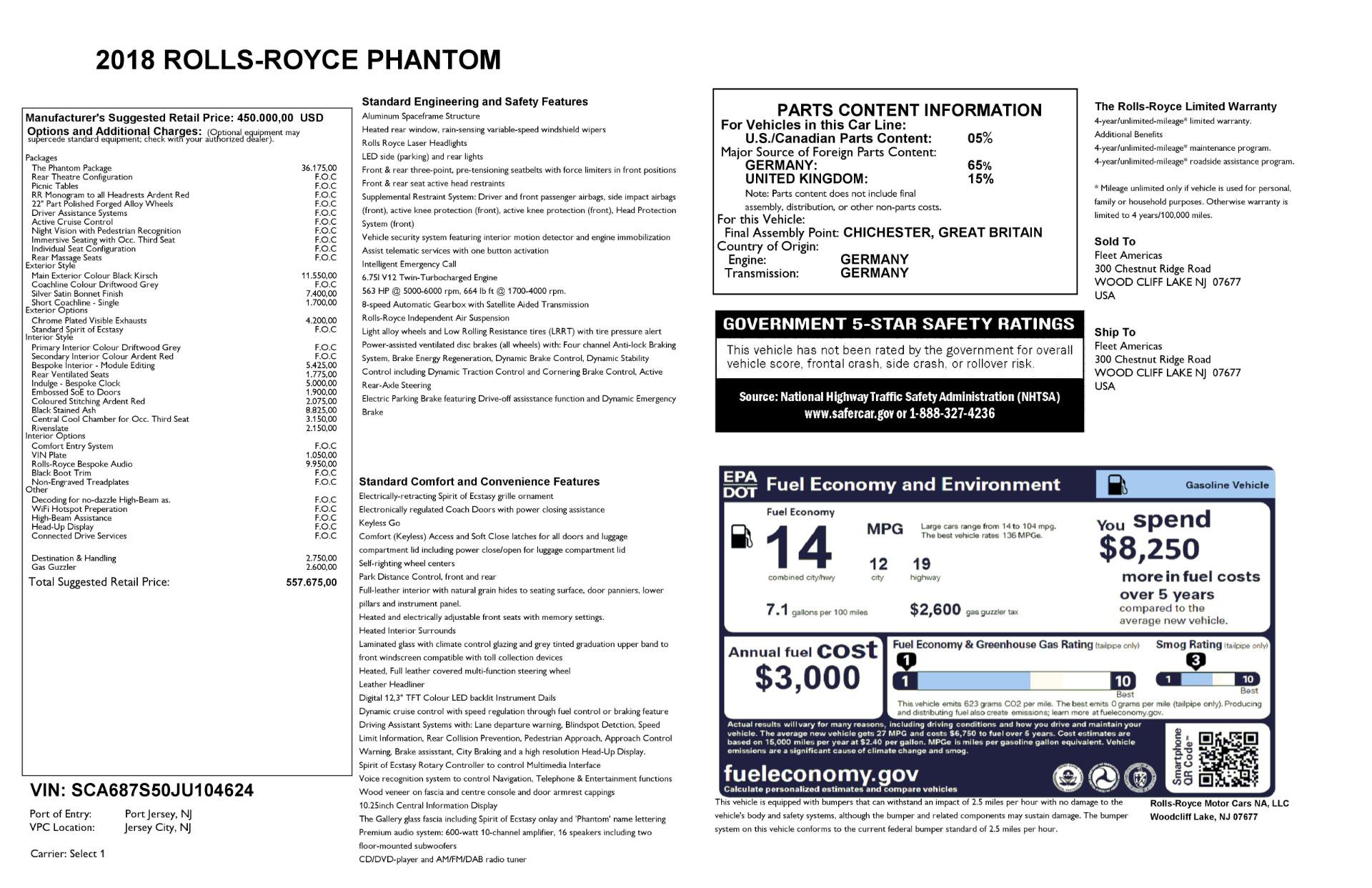 New 2018 Rolls-Royce Phantom  For Sale 0 In Greenwich, CT