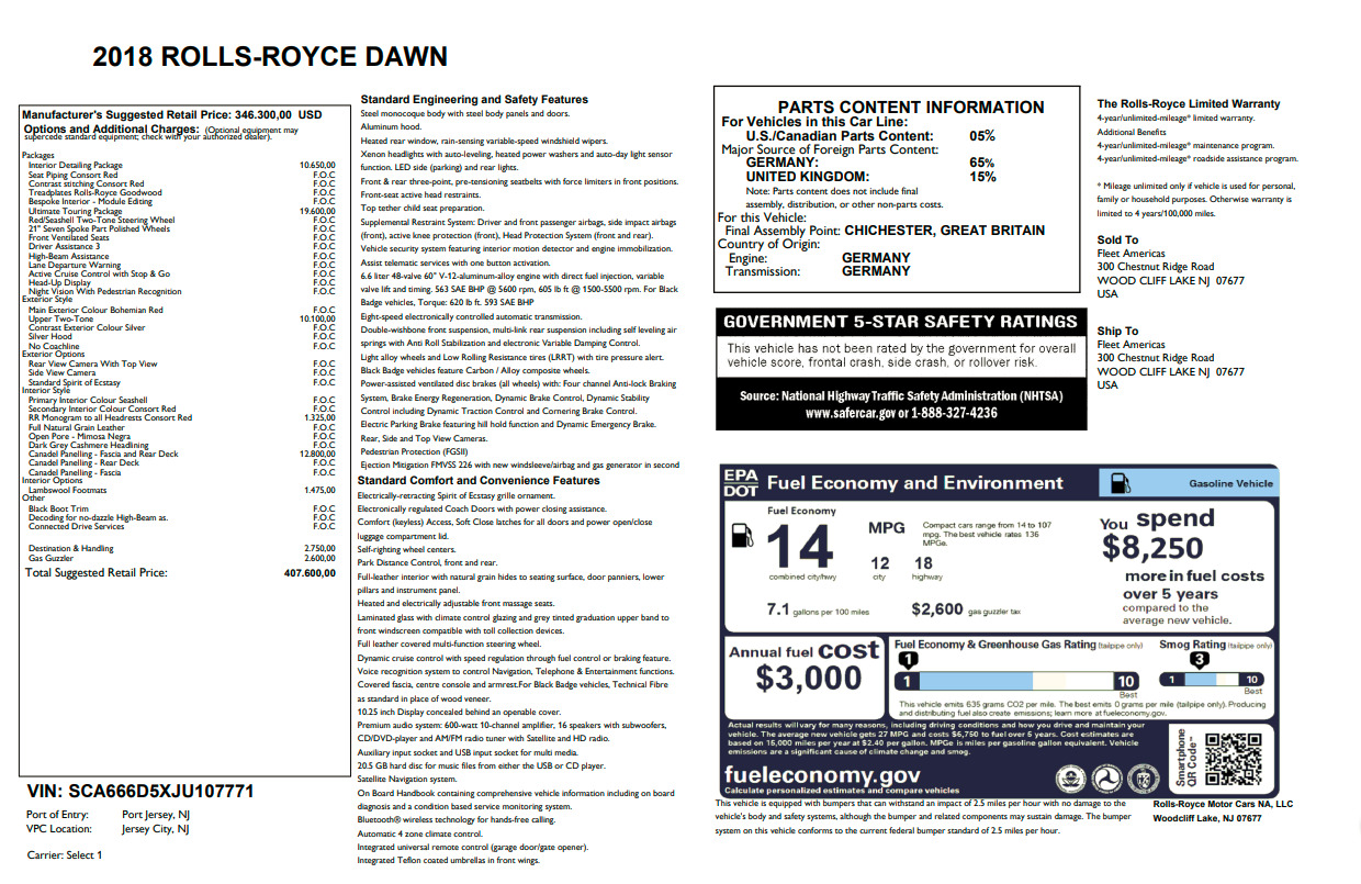 New 2018 Rolls-Royce Dawn  For Sale 0 In Greenwich, CT