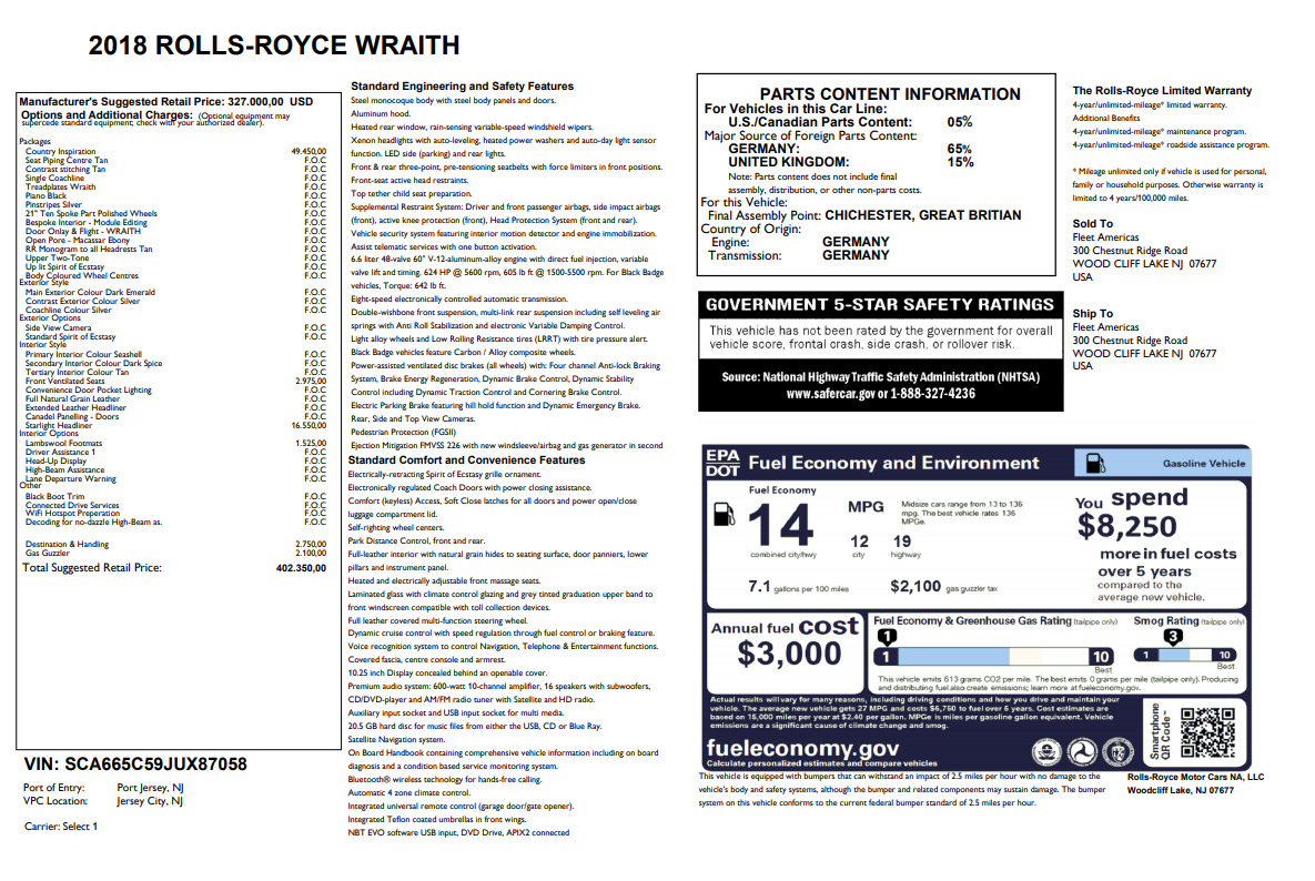 Used 2018 Rolls-Royce Wraith  For Sale 0 In Greenwich, CT