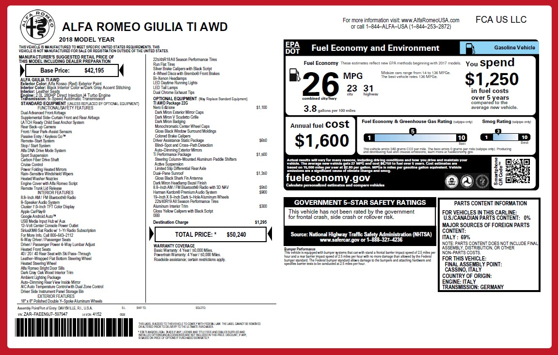 New 2018 Alfa Romeo Giulia Ti Q4 For Sale 0 In Greenwich, CT