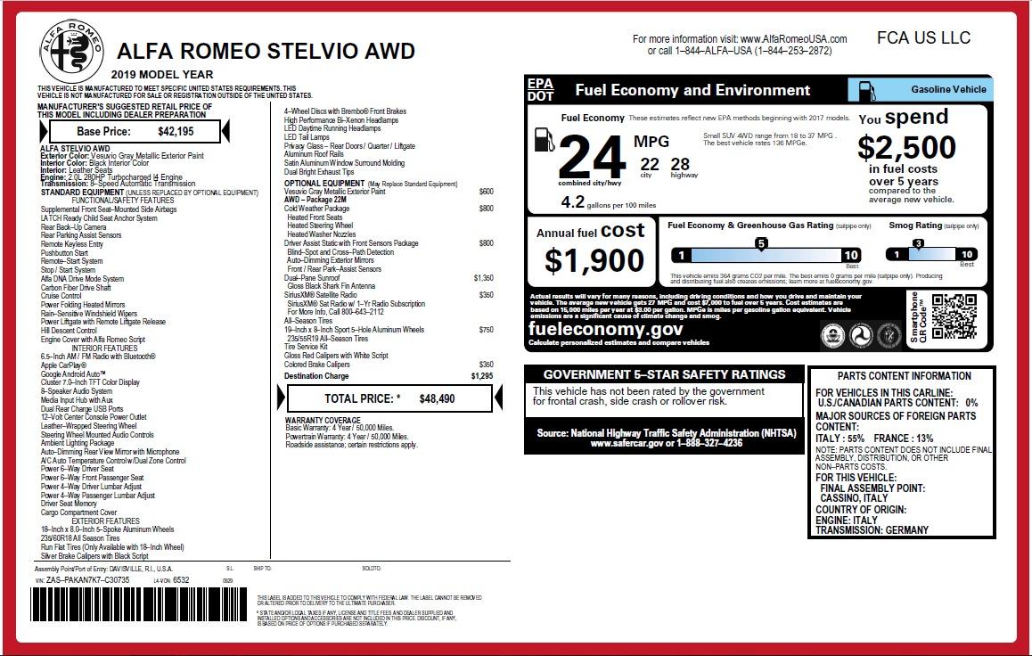 New 2019 Alfa Romeo Stelvio Q4 For Sale 48490 In Greenwich, CT