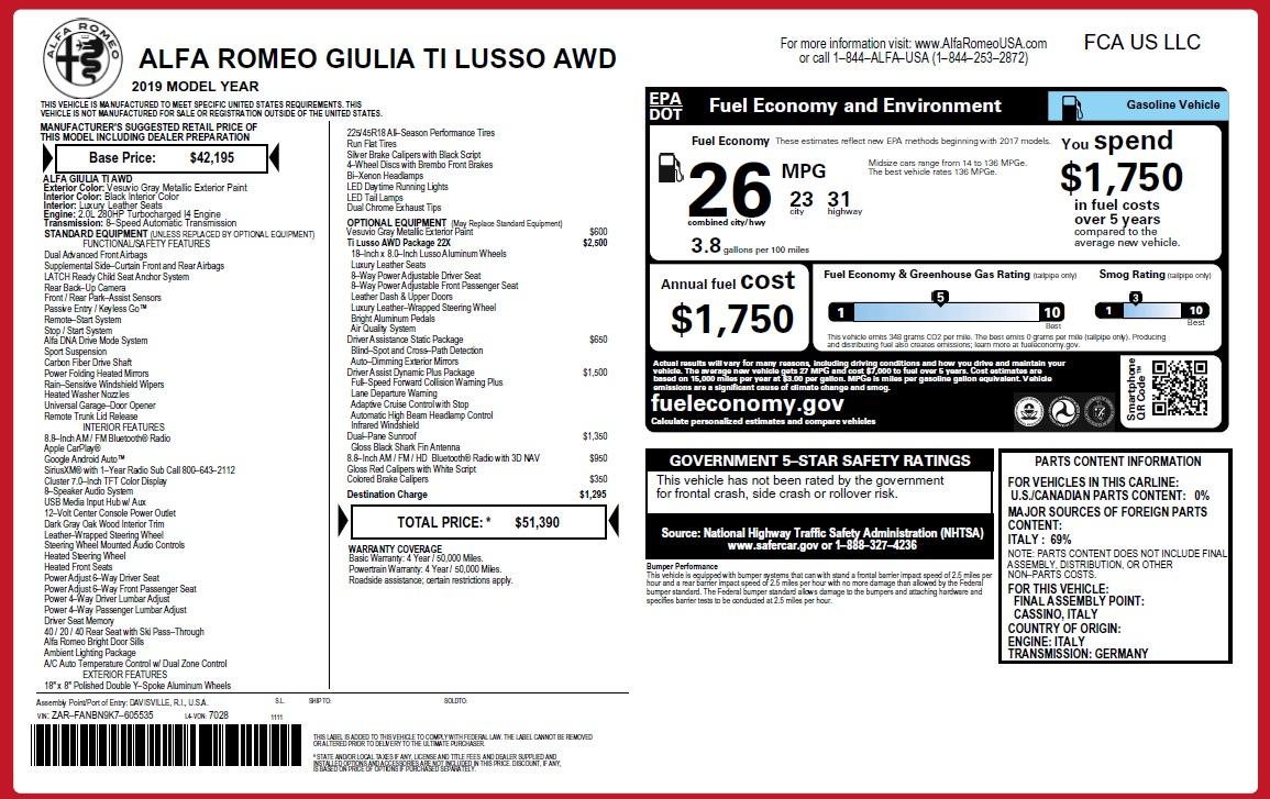 New 2019 Alfa Romeo Giulia Ti Lusso Q4 For Sale 51390 In Greenwich, CT