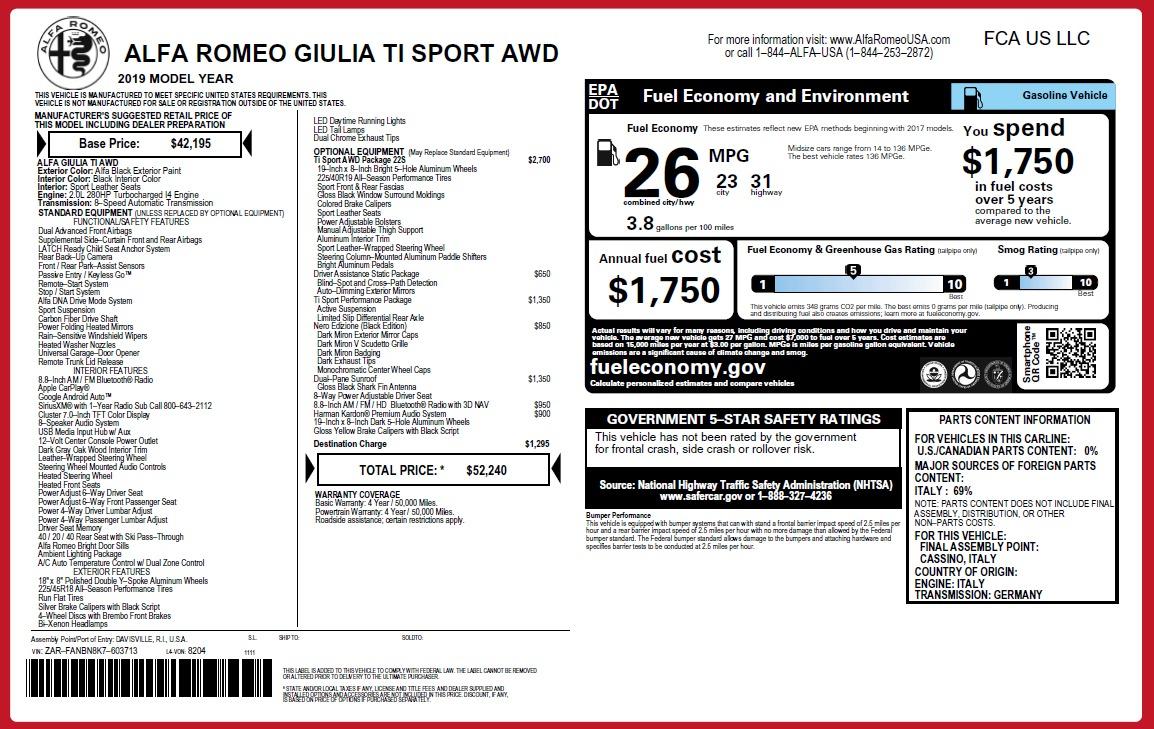 New 2019 Alfa Romeo Giulia Ti Sport Q4 For Sale 52240 In Greenwich, CT