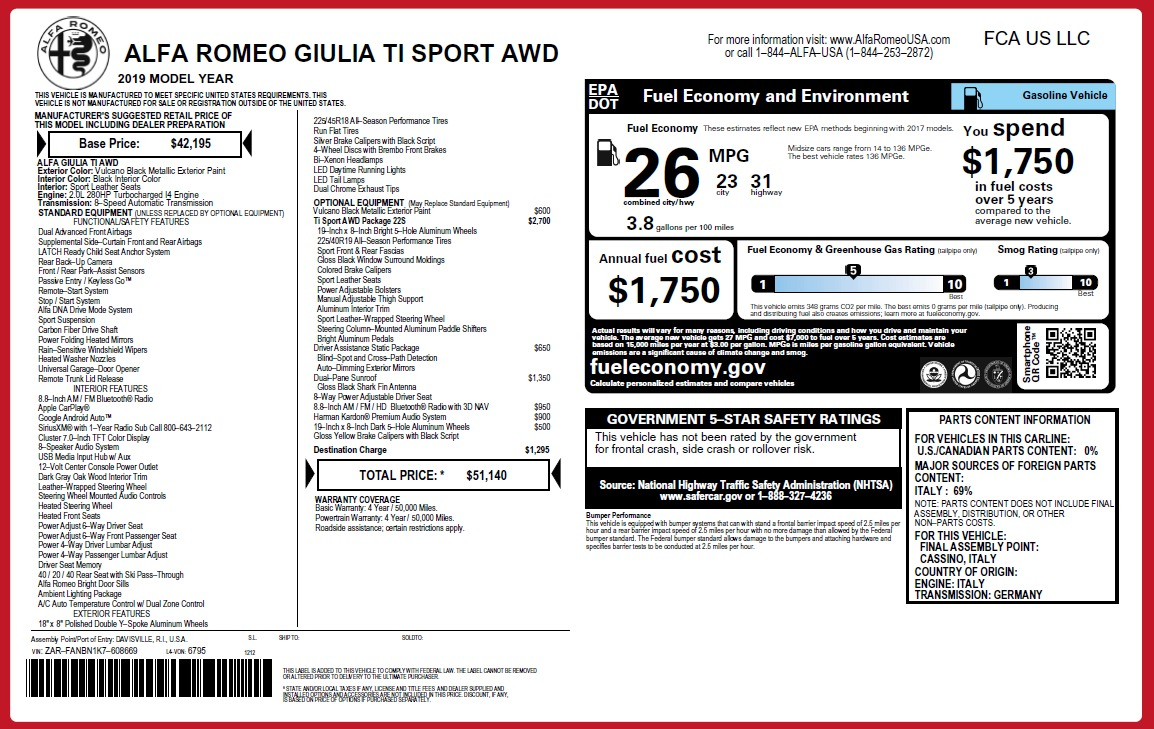 New 2019 Alfa Romeo Giulia Ti Sport Q4 For Sale 51140 In Greenwich, CT