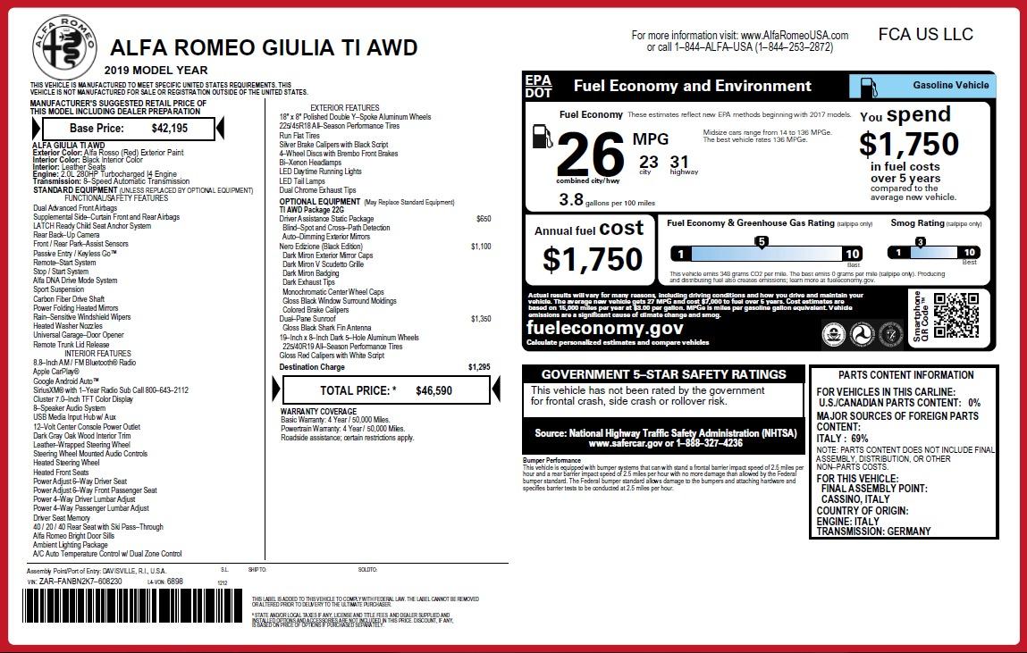 New 2019 Alfa Romeo Giulia Ti Q4 For Sale 46590 In Greenwich, CT