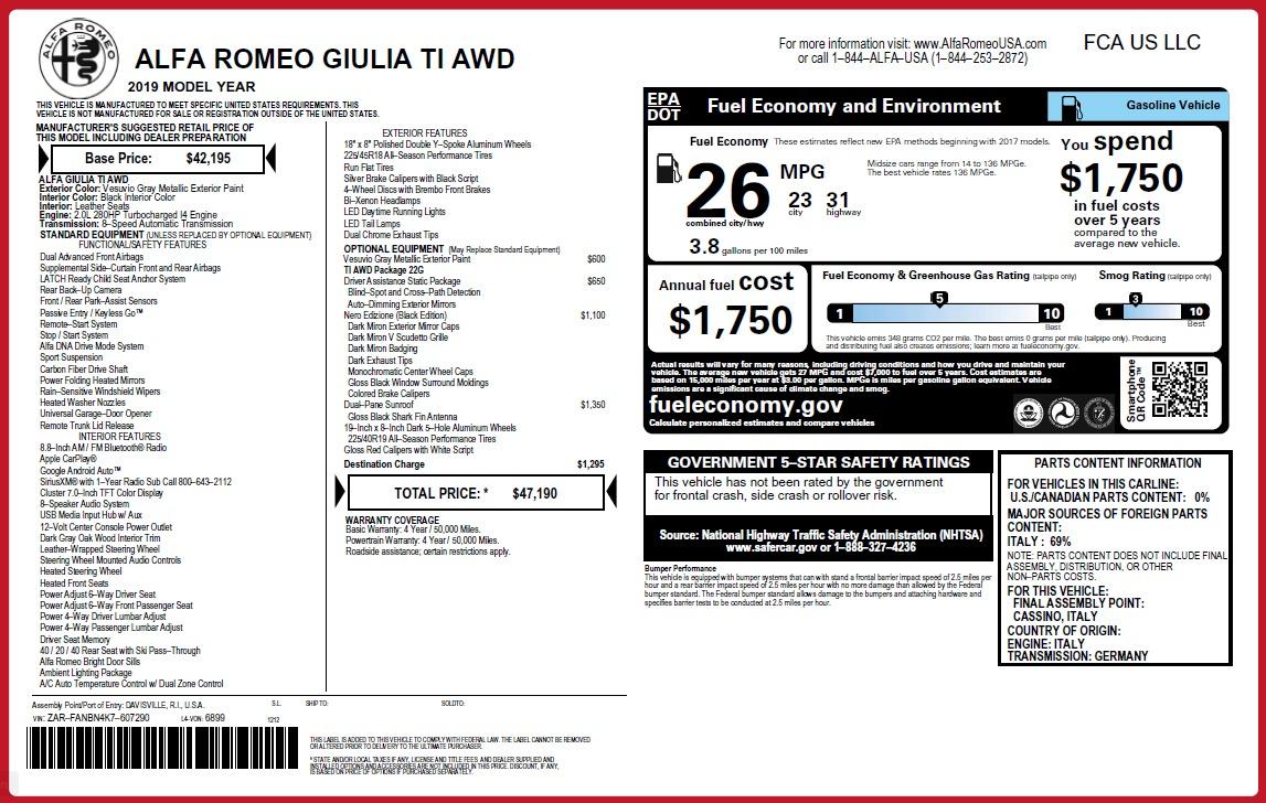 New 2019 Alfa Romeo Giulia Ti Q4 For Sale 47190 In Greenwich, CT