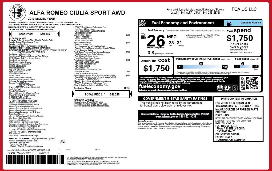 New 2019 Alfa Romeo Giulia Sport Q4 For Sale 48240 In Greenwich, CT