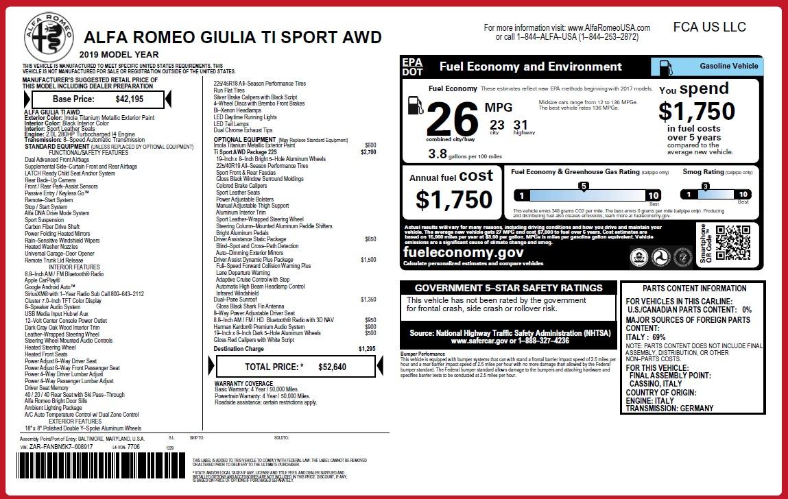 New 2019 Alfa Romeo Giulia Ti Sport Q4 For Sale 52640 In Greenwich, CT