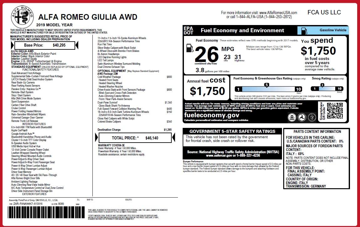 New 2019 Alfa Romeo Giulia Q4 For Sale 46140 In Greenwich, CT