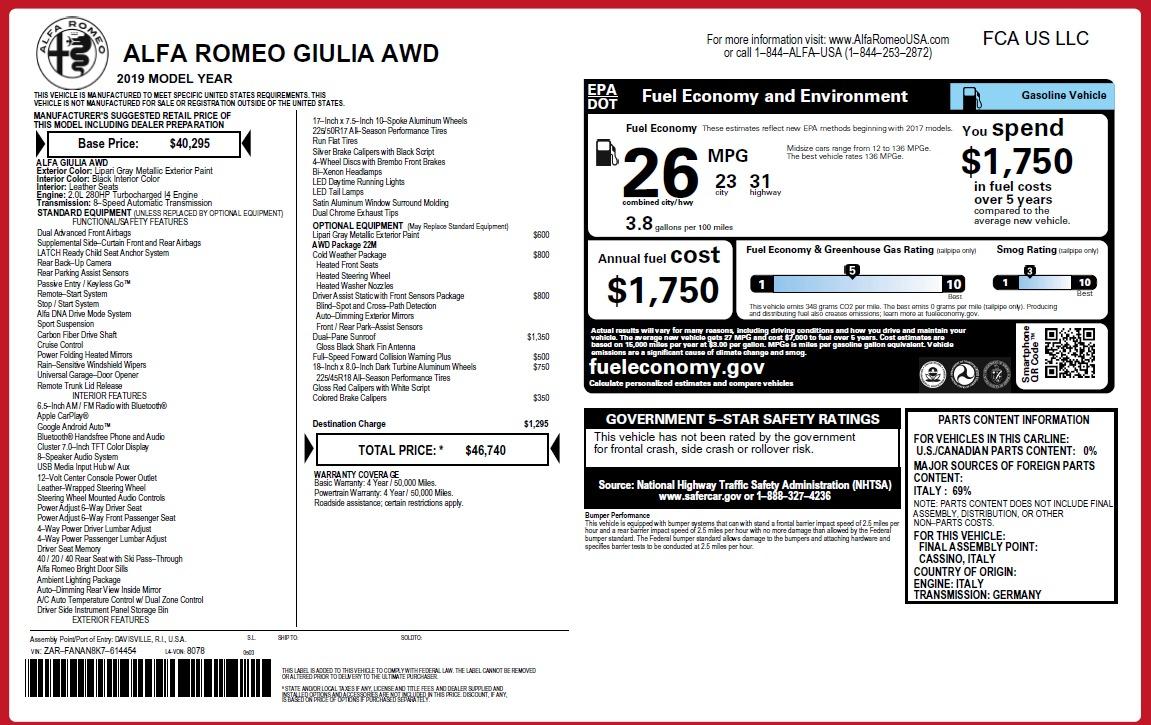 New 2019 Alfa Romeo Giulia Q4 For Sale 46740 In Greenwich, CT