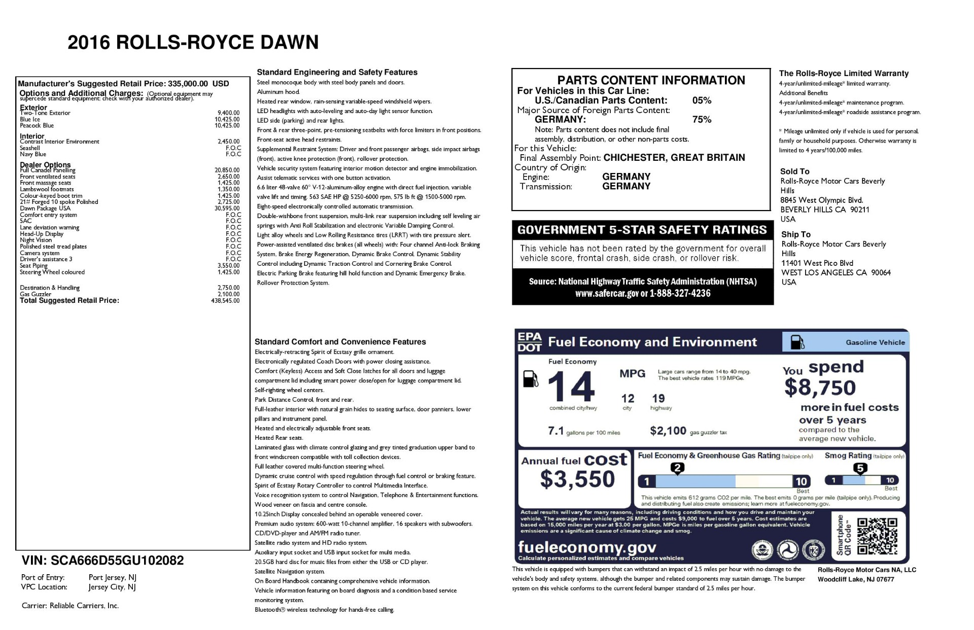 Used 2016 Rolls-Royce Dawn  For Sale 438545 In Greenwich, CT