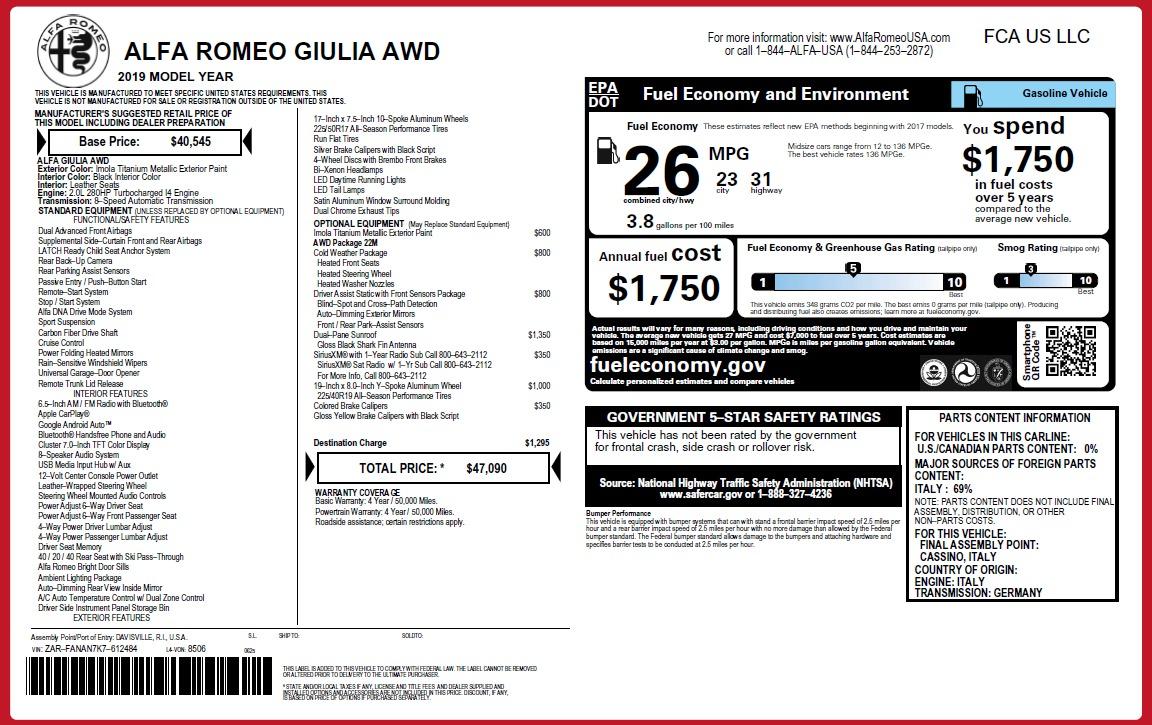 New 2019 Alfa Romeo Giulia Q4 For Sale 47090 In Greenwich, CT