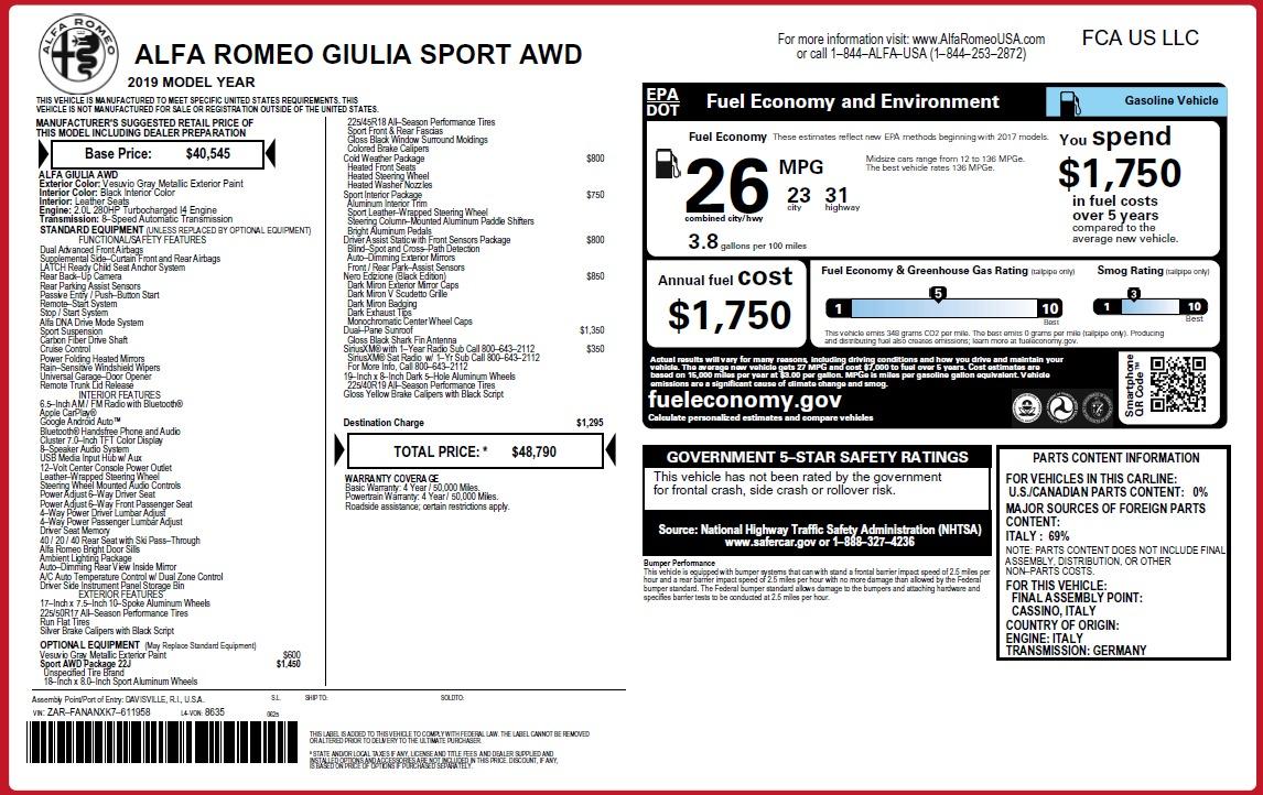 New 2019 Alfa Romeo Giulia Sport Q4 For Sale 48790 In Greenwich, CT