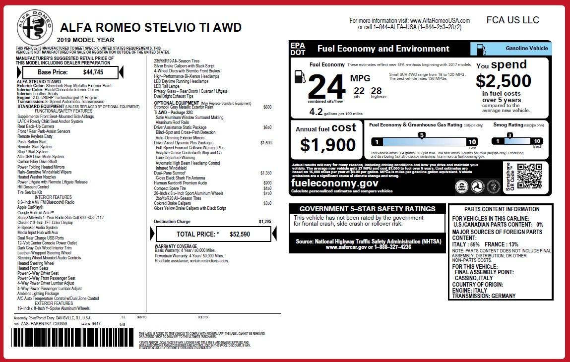 New 2019 Alfa Romeo Stelvio Ti Q4 For Sale 52590 In Greenwich, CT