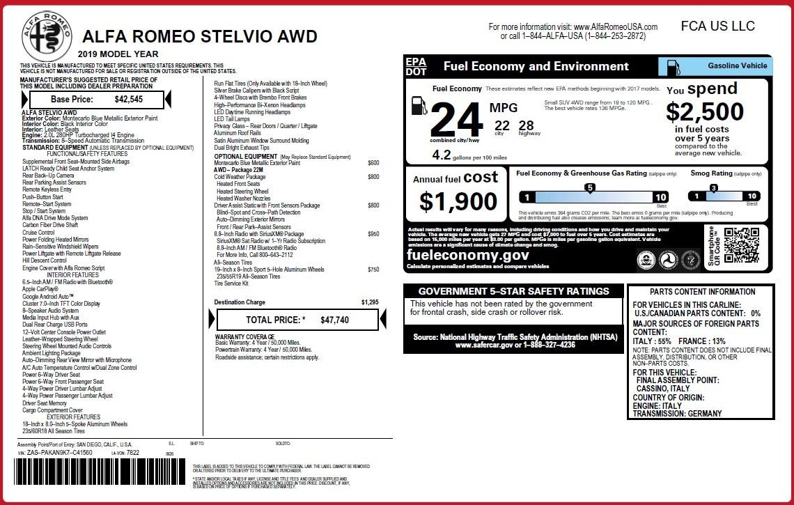 New 2019 Alfa Romeo Stelvio Q4 For Sale 47740 In Greenwich, CT