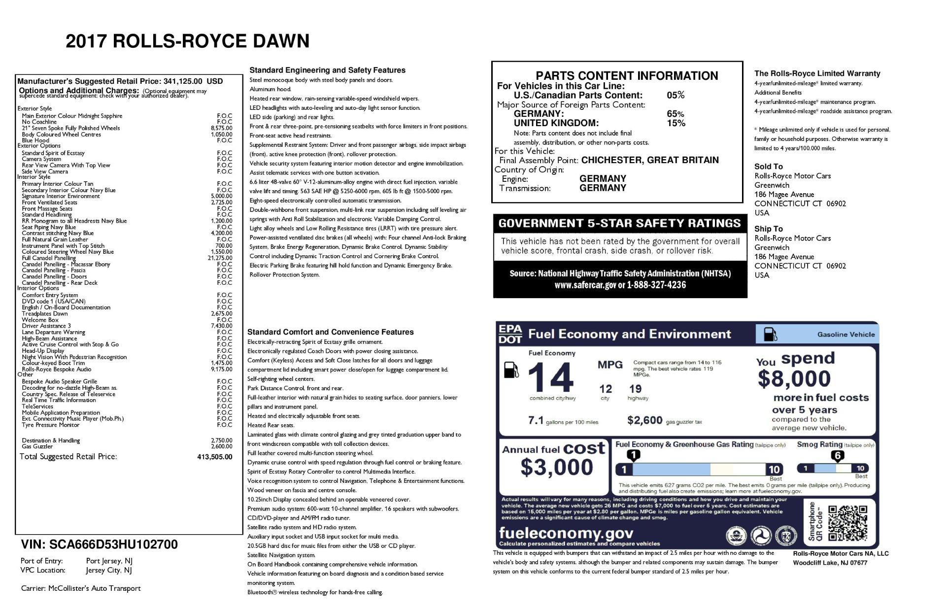 Used 2017 Rolls-Royce Dawn  For Sale 413505 In Greenwich, CT