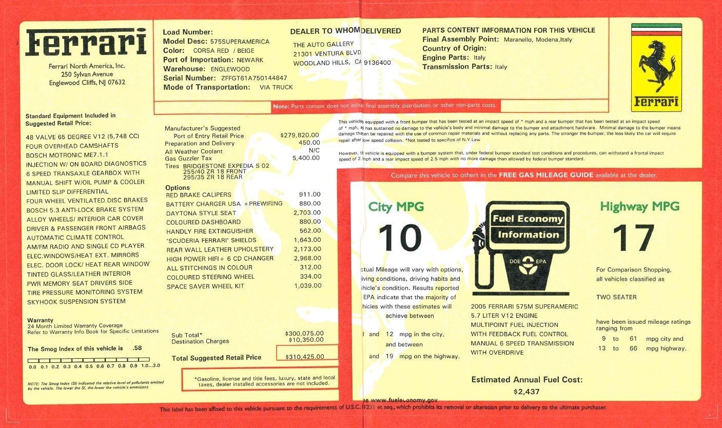 Used 2005 Ferrari Superamerica 6-Speed Manual For Sale 0 In Greenwich, CT