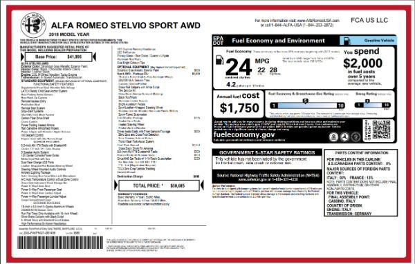 New 2018 Alfa Romeo Stelvio Sport Q4 for sale Sold at Aston Martin of Greenwich in Greenwich CT 06830 26