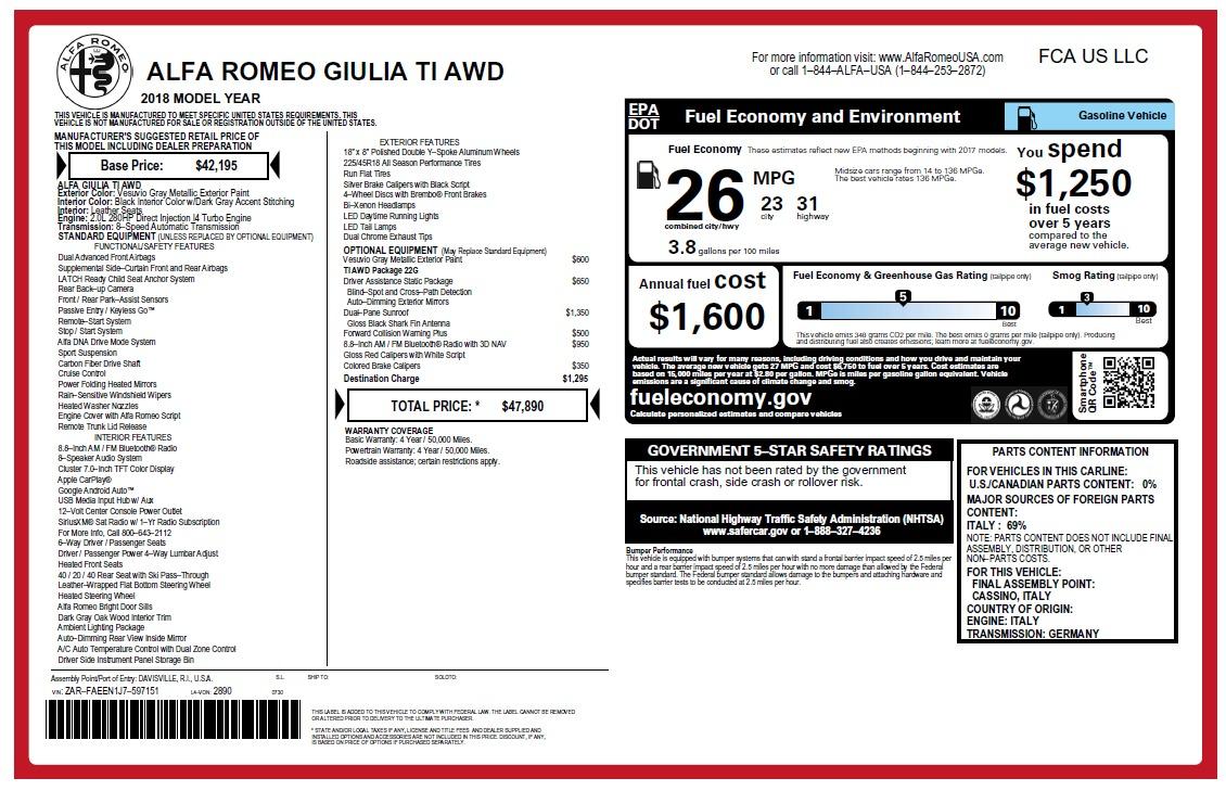 New 2018 Alfa Romeo Giulia Ti Q4 for sale Sold at Aston Martin of Greenwich in Greenwich CT 06830 1