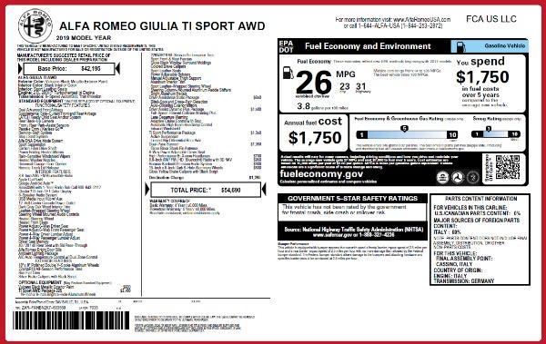New 2019 Alfa Romeo Giulia Ti Sport Q4 for sale Sold at Aston Martin of Greenwich in Greenwich CT 06830 26