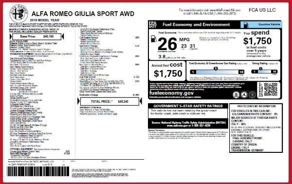 New 2019 Alfa Romeo Giulia Sport Q4 for sale Sold at Aston Martin of Greenwich in Greenwich CT 06830 24