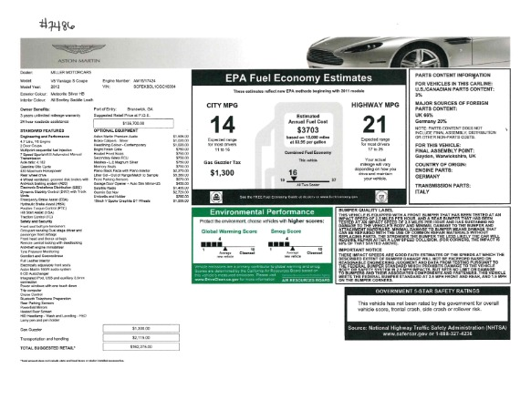 Used 2012 Aston Martin V8 Vantage S Coupe for sale Sold at Aston Martin of Greenwich in Greenwich CT 06830 21