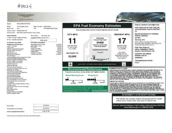 Used 2012 Aston Martin V12 Vantage for sale Sold at Aston Martin of Greenwich in Greenwich CT 06830 19