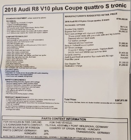 Used 2018 Audi R8 5.2 quattro V10 Plus for sale Sold at Aston Martin of Greenwich in Greenwich CT 06830 27