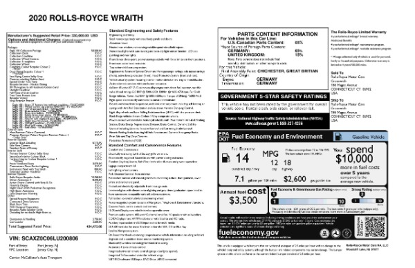 New 2020 Rolls-Royce Wraith Eagle for sale Sold at Aston Martin of Greenwich in Greenwich CT 06830 8