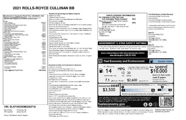 New 2021 Rolls-Royce Cullinan Black Badge for sale Call for price at Aston Martin of Greenwich in Greenwich CT 06830 11