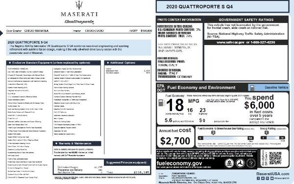 New 2020 Maserati Quattroporte S Q4 for sale Sold at Aston Martin of Greenwich in Greenwich CT 06830 2