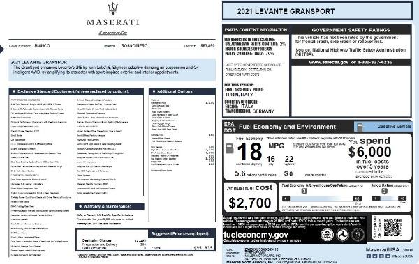 New 2021 Maserati Levante Q4 GranSport for sale Sold at Aston Martin of Greenwich in Greenwich CT 06830 20