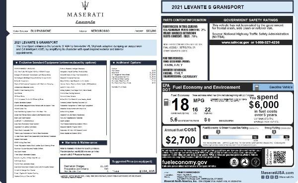 New 2021 Maserati Levante S Q4 GranSport for sale $104,835 at Aston Martin of Greenwich in Greenwich CT 06830 2