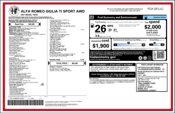 New 2021 Alfa Romeo Giulia Ti Sport for sale $54,050 at Aston Martin of Greenwich in Greenwich CT 06830 27