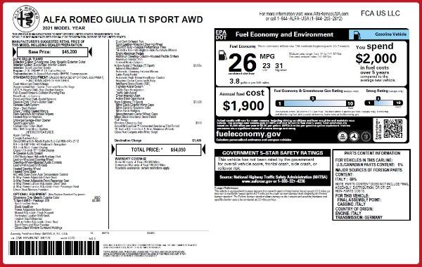 New 2021 Alfa Romeo Giulia Ti Sport Q4 for sale $54,050 at Aston Martin of Greenwich in Greenwich CT 06830 2