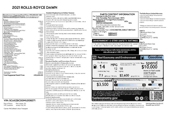 New 2021 Rolls-Royce Dawn for sale Call for price at Aston Martin of Greenwich in Greenwich CT 06830 9