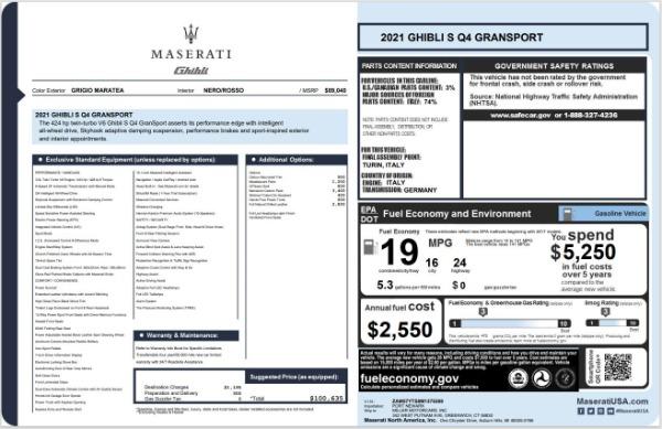 New 2021 Maserati Ghibli S Q4 GranSport for sale $100,635 at Aston Martin of Greenwich in Greenwich CT 06830 20
