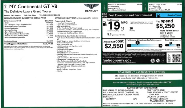 Used 2021 Bentley Continental GT V8 for sale Call for price at Aston Martin of Greenwich in Greenwich CT 06830 27