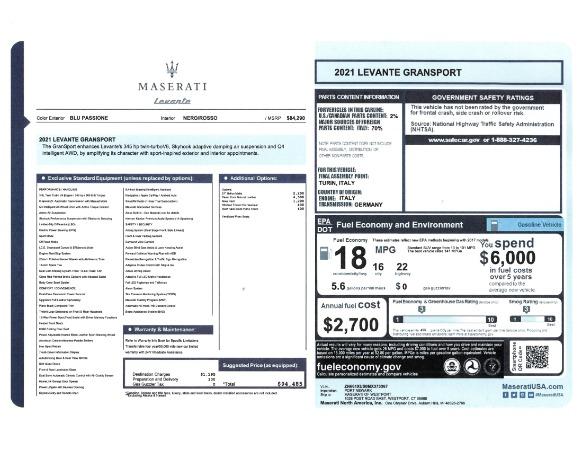 New 2021 Maserati Levante GranSport for sale Sold at Aston Martin of Greenwich in Greenwich CT 06830 23